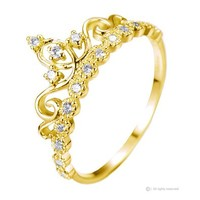 Dainty 925 Sterling Silver Crown Ring / Princess Ring (Yellow Gold Plated)