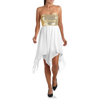 Sequins  High Low Dress Gold Pretty Homecoming