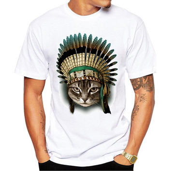New Arrivals Fashion The Indian Chief Cat Design Men's T Shirt Boy Hipster Cool Tops Casual T-shirt