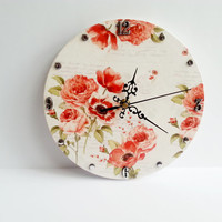Romantic shabby chic decoupage wooden wall clock poppies gift idea for her delicate clock
