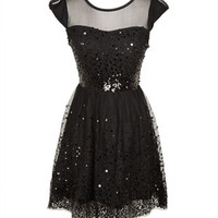 Delia's Cap Sleeve Sequin Mesh Dress