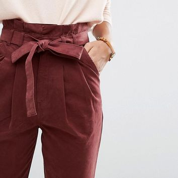 ASOS High Waist Paperbag Straight Leg Pants at asos.com