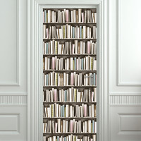 """Door STICKER book pastel library cabinet strapper box mural decole film self-adhesive poster 30""""x79""""(77x200 cm)"""
