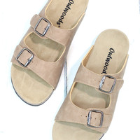Classic Bork Slide On Sandals Leather Look {Taupe}