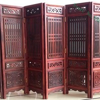 14.75 inch Exquisite Hand-carved Chinese Boxwood & Sculpture Folding Screen