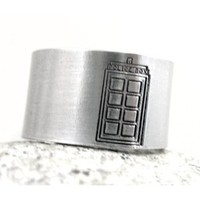 Tardis Ring - Doctor Who Ring with Exclusive Tardis Police Box Design, Hand Stamped Jewelry by Foxwise