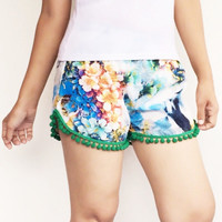 Pom Pom Shorts - Green Pom Pom with Floral printed on Silk Chiffon - Beach Shorts - Gym Shorts