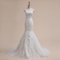 Mermaid Sweetheart Strapless Chapel TrainSatin Lace Appliques Wedding Dress #67899877