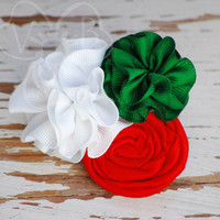 Holiday Mint ruffle collage headband or clip from VioletsBuds