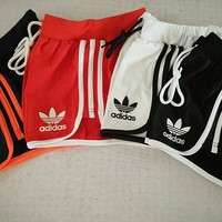Adidas Woman Fashion Drawstring Sport Gym Running Shorts