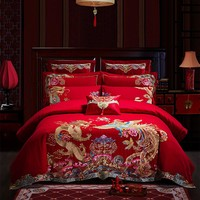 Luxury wedding 4/6/9pcs Bedding Sets Chinese Dragon embroidery Duvet Cover Thick Bed Spread Pillowcase bed linen 2018 new design