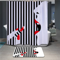 New 3D Black and white stripes Lipstick girl Design Shower Curtain Water Resistance Bathing Thicker Waterproof Bathroom Curtains