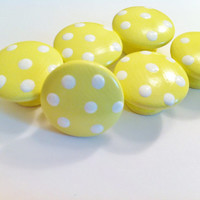 Pale Yellow Dresser Knobs Hand Painted with Large White Polka Dots