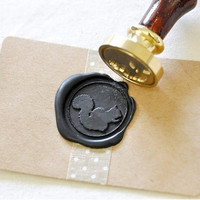 Squirrel Gold Plated Wax Seal Stamp x 1