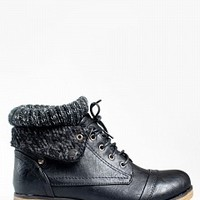 WYNNE-01-8-4 Sweater Cuff Lace-Up Boots Women Boots BLACK Bare Feet Shoes