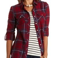 Plaid Flannel Button-Up Top by Charlotte Russe - Burgundy Cmb