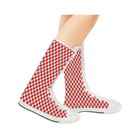 Bright Red Gingham Canvas Long Boots For Women Model 7013H | ID: D1386737