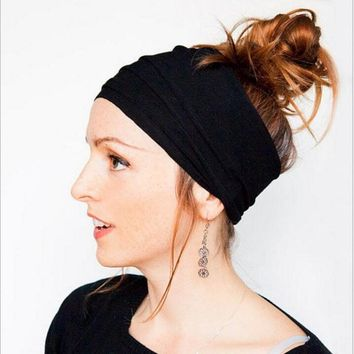 New female fashion fold headband Wide Cotton Stretch Elastic Sport Women Headband Hair Accessories Turban Headwear