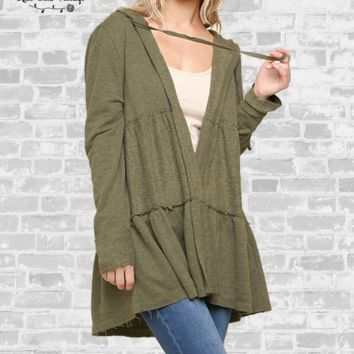 Tiered Babydoll Hoodie - Olive - Small only