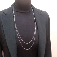 Long and Layered Necklace, 925 Sterling Silver, Double Strand Chain, Delicate Jewelry, Asymmetric Multi Strand, Hematite Bar Necklace