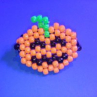 Pack of 3 Halloween Pumpkin Kandi Cuff Bracelets