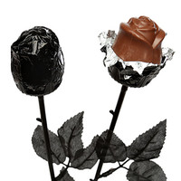 Halloween Gothic Black Chocolate Roses: 18-Piece Display