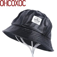 men's women's casual Bucket Hats thick PU leather hat  simple design black dome style spring autumn winter hat for girl female
