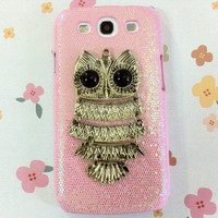 New Chic Glam Bling Sparkle Vintage Metal Owl All Glitter Coating Samsung Galaxy S3 i9300 Case
