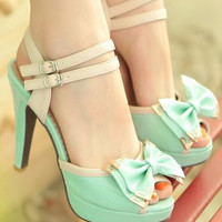 BOW FISH MOUTH HIGH-HEELED WOMEN SANDALS FASHION IS WATERPROOF