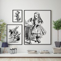 Alice in Wonderland Art Print Wall Picture , Vintage Hand Drawn Alice In Wonderland Poster Canvas Painting Girls Room Decoration