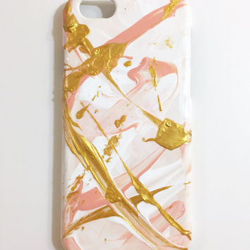 iPhone 6 Case Hand Painted Abstract Cellphone accessories hard plastic Peach White Gold