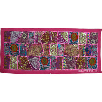 Pink Vintage Recycled Fabric Hand Patchwork Embroidery Runner Tapestry