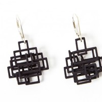 Unique Earring, 3D Jewelry from Melissa Borell, Square Dangle Earrings - Red