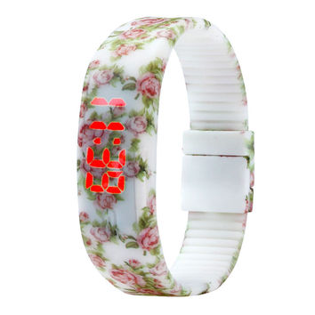 Floral LED  Digital Womens Watch with Date, , Water Resistant