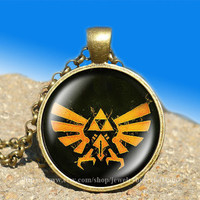 Zelda Hyrule Crest vintage pendant -necklace ready for gifting Buy 3 and get the 4th one free