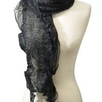 Peach Couture Black Silky Sheer Floral Trimmed Pashmina
