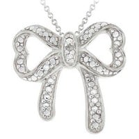 """Sterling Silver Diamond Accent Bow Necklace - 18"""""""
