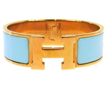 Authentic HERMES Vintage H Logos Clic Clac Bangle Gold Light Blue TG00466