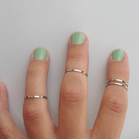 4 Above the Knuckle Rings - Plain Band Knuckle Rings, chrome silver thin shiny rings - set of 4 midi rings, unique gift for her