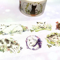lovely cat washi tape 5M meow meow pet cat sticker tape cat label Little kitty pussy cat short haired gray cat picture cat themed decor tape