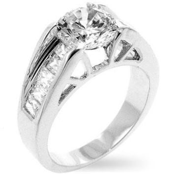Timeless Clear Engagement Ring, size : 10