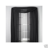 "SET OF 2, 84"" LONG BLACK SHEER VOILE CURTAINS / TAILORED CURTAIN PANELS, 58"" WIDE"