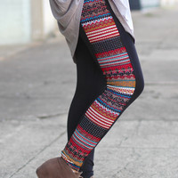 Tribal Rhinestone Leggings {Red}