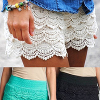 Crochet Lace Shorts-Multiple Colors