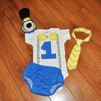 Baby Boy/Toddler Minions Cake smash outfit, Boy Birthday Outfit, minions birthday, despicable me cake smash 1st 2nd 3rd  birthday,