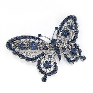 Amazing Butterfly Hairpin Blue Crystal Headwear Barrette Hair Clip Headwear Accessories Jewelry For Woman Girls F109