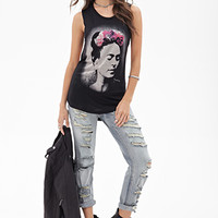 FOREVER 21 Twisted Frida Kahlo Muscle Tee Black/Taupe