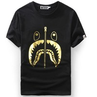 BAPE SHARK Hot stamping printing shark Men's and women's cotton personality t-shirts