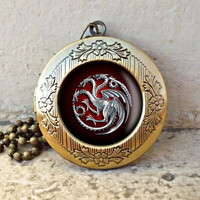 House Targaryen Game of Thrones Inspired Antique Cameo Pendant Necklace - ready for gifting