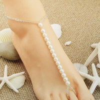Gift Sexy Cute Jewelry Ladies Shiny New Arrival Stylish Simple Design Handcrafts Pearls Stretch High Heel Shoes Beach Anklet [6768756231]